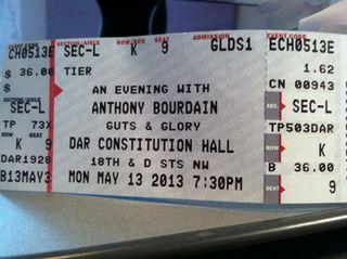 Anthony Bourdain ticket photo May 20 2013