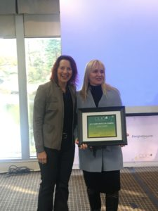 Lisa Presents Jamie Gorski with a Beacon Award